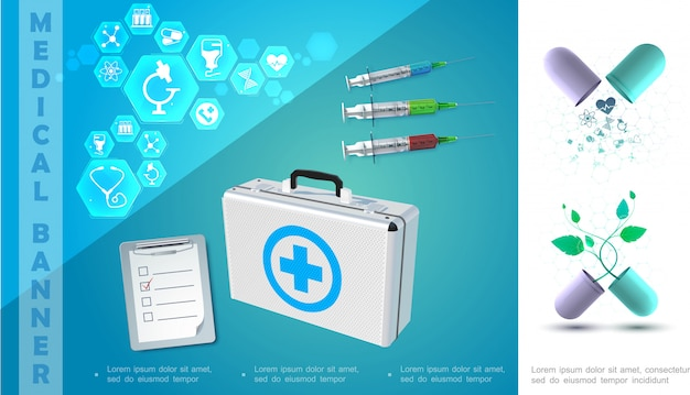 Realistic medicine colorful composition with notepad syringes broken capsules medical box and icons in hexagons Free Vector