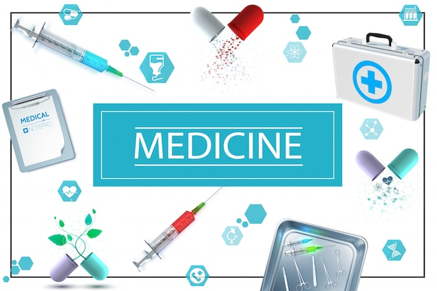 Realistic medicine composition with notepad capsules medical kit icons syringes and surgical instruments in metal sterilizer Free Vector