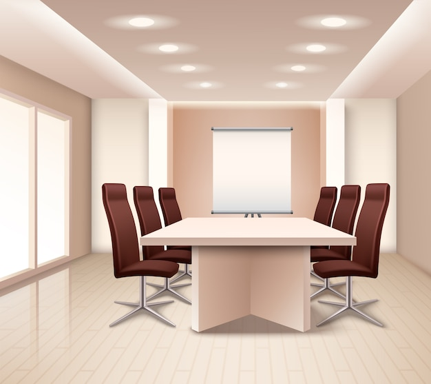Realistic meeting room interior Free Vector