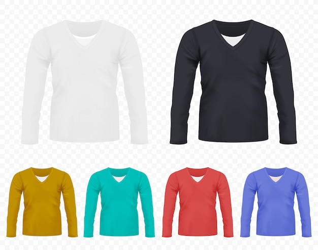 Realistic men t-shirt with long sleeves Premium Vector