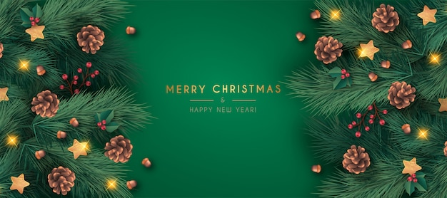 Realistic merry christmas banner template Free Vector