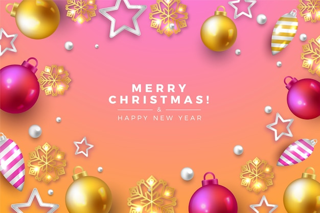 Realistic merry christmas gradient pink tones background Free Vector