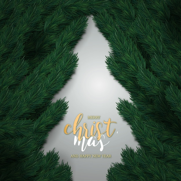 Realistic merry christmas and happy new year Free Vector