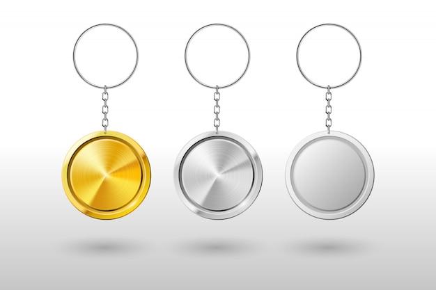 Реалистичная металлическая и пластиковая круглая подставка для ключей. макет Premium векторы