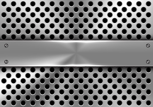 Realistic metal banner on circle mesh background. Premium Vector