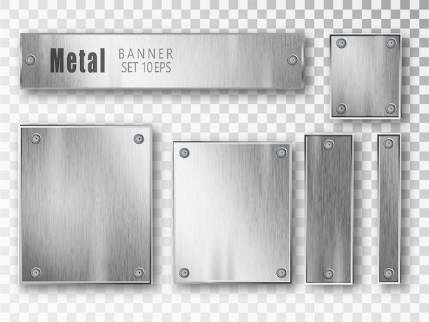 Realistic metal banner composition Premium Vector