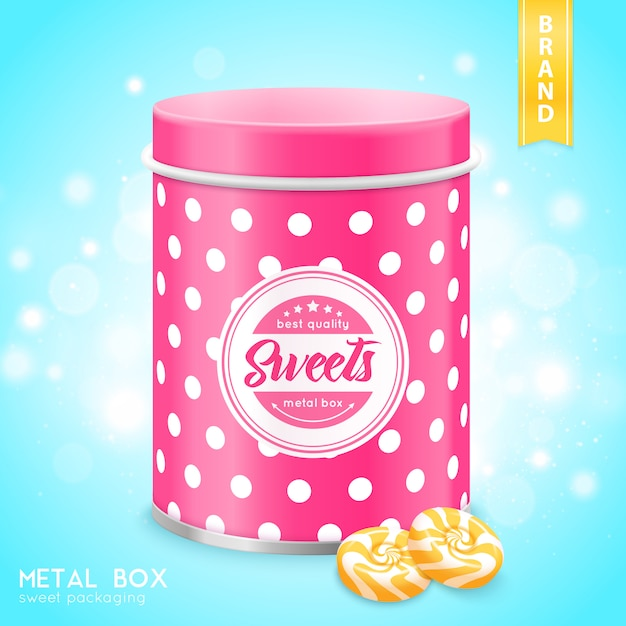 Realistic metal box for sweets Free Vector