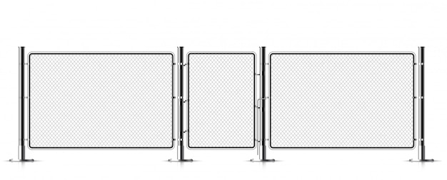 Realistic metal chain link fence. Premium Vector