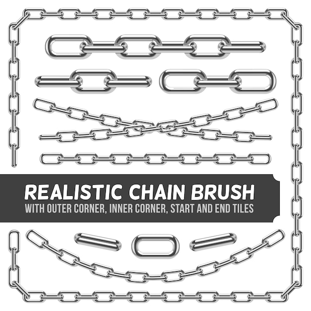 Realistic metal chain set, silver chains. industrial link and metallic strength line illustra Premium Vector