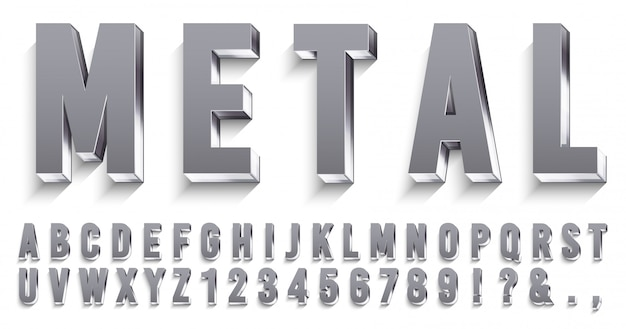 Realistic metal font. shiny metallic letters with shadows, chrome text and metals alphabet   set Premium Vector