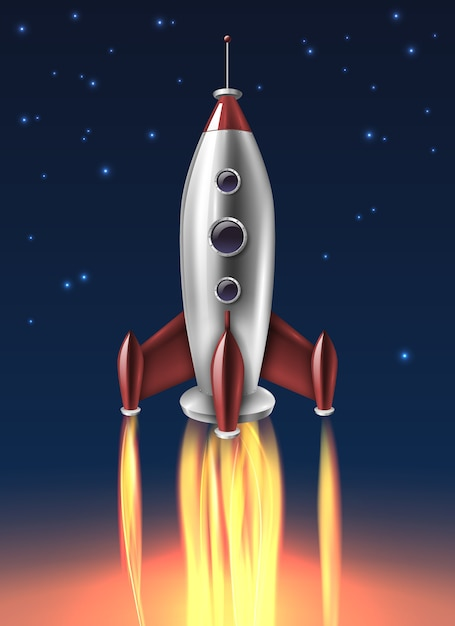 Realistic metal rocket launch background poster Free Vector