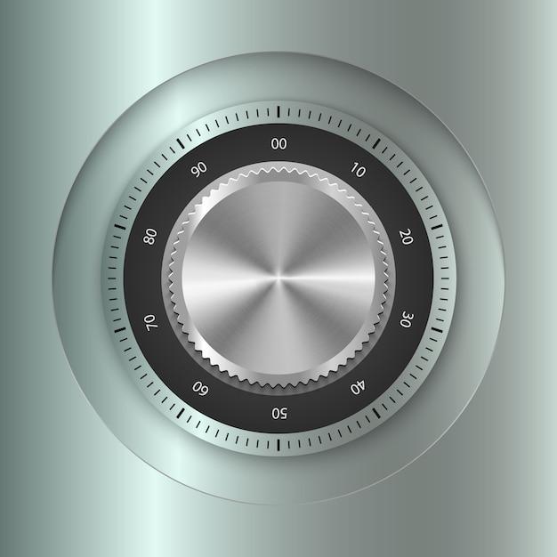 Realistic metal safe lock Premium Vector