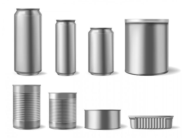 現実的な金属缶。飲食物缶、飲料包装モックアップ、異形スチールビール缶セット。コンテナー缶と缶鋼、製品金属テンプレートイラスト Premiumベクター