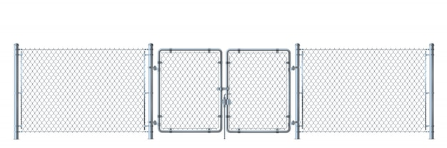 Realistic metal wire fence and gate detailed illustration isolated on white background. Premium Vector