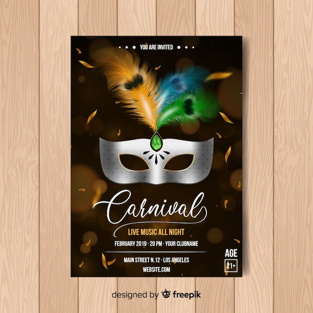 Realistic metallic mask carnival party poster Free Vector