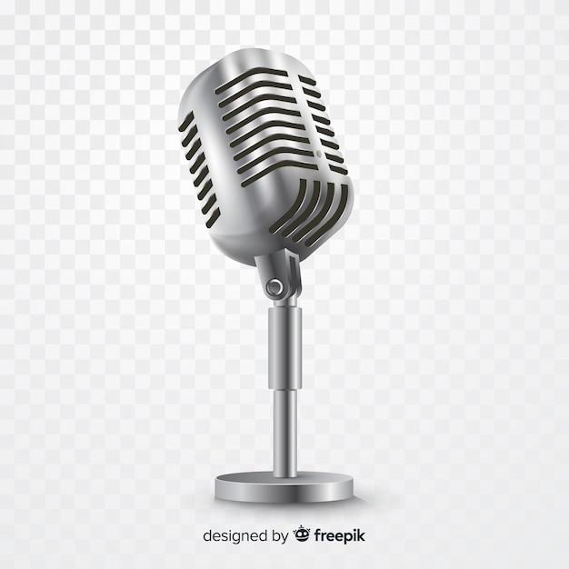 歌うためのリアルなメタリックマイク 無料ベクター