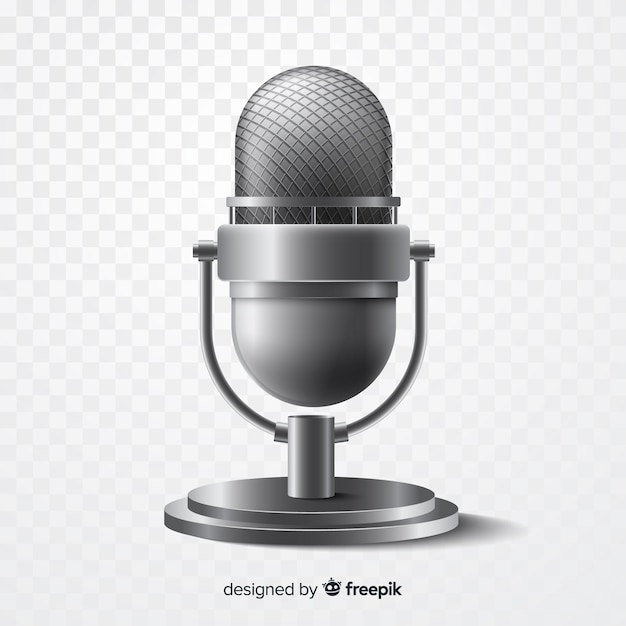 Realistic metallic microphone for singing Free Vector