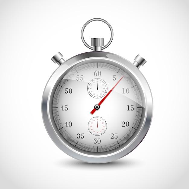 Realistic metallic stopwatch Premium Vector