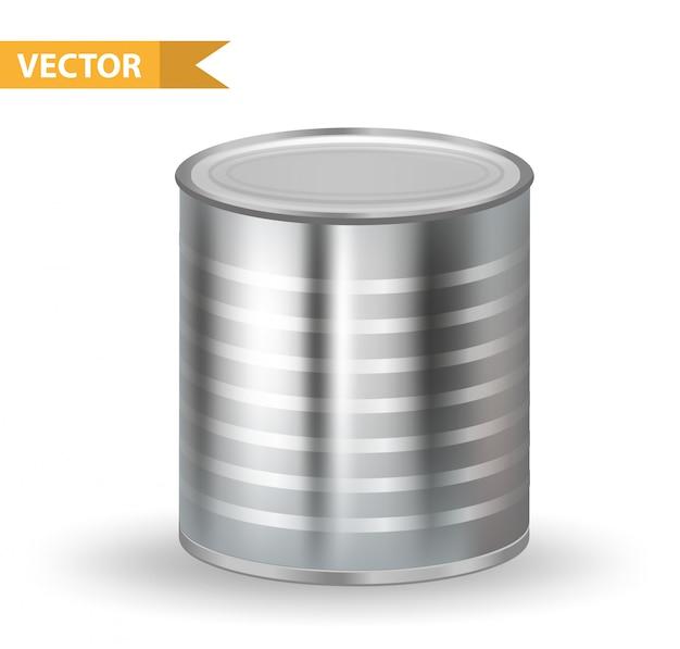 現実的な金属缶。缶コンテナ。白い背景の上。あなたの製品の缶詰食品を梱包するため。図。 Premiumベクター