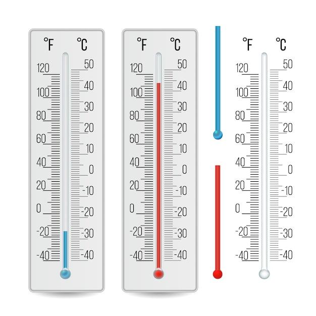 Realistic meteorological thermometer Premium Vector