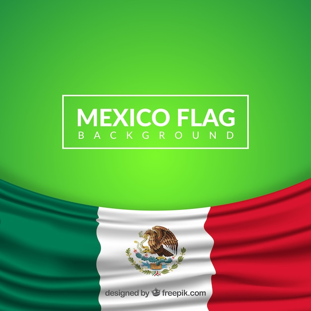 Realistic mexican flag background Free Vector