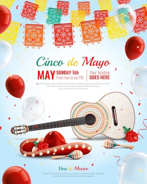 ソンブレロマラカスのギター風船で現実的なメキシコの休日シンコデマヨ組成 無料ベクター