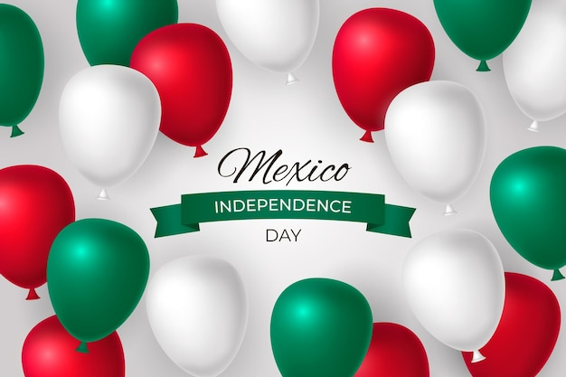 Realistic mexico independence day balloon background Free Vector