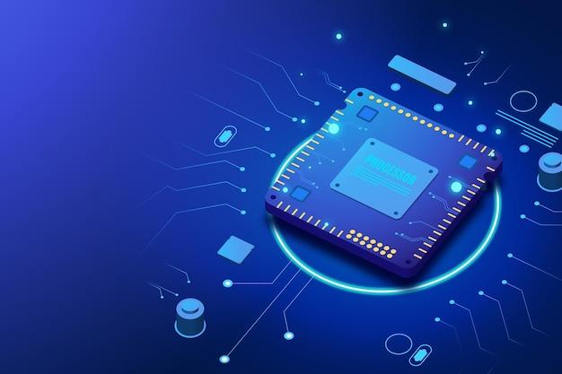 Realistic microchip processor background Free Vector