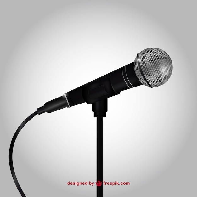 Realistic microphone Vector   Free Download