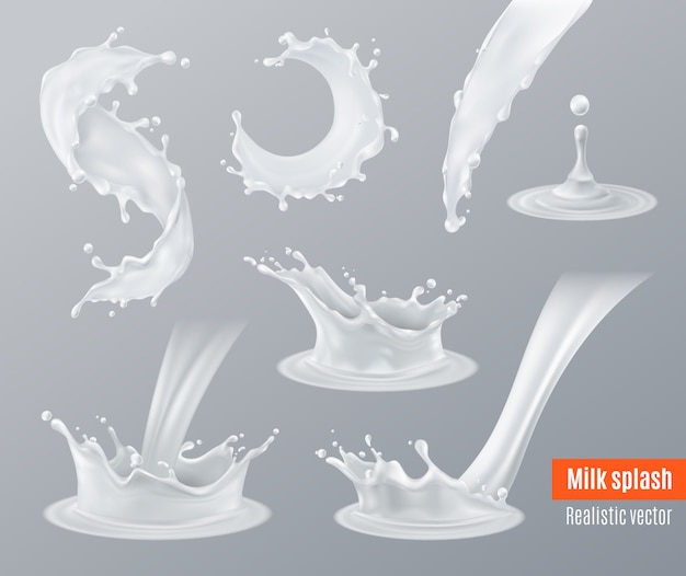 Realistic milk splashes set Free Vector