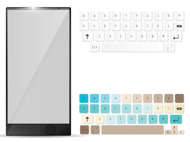 Realistic mobile and mobile keyboard Premium Vector