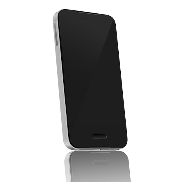 Realistic mobile phone 45 degree blank screen isolate on white background Premium Vector