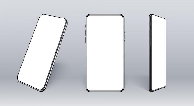 다른 각도에서 현실적인 휴대 전화입니다. 얇은 프레임과 빈 화면이있는 스마트 장치 컬렉션 프리미엄 벡터