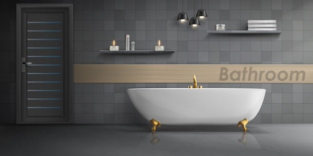 Realistic mockup of bathroom interior with big white ceramic bathtub, golden metal tap Free Vector