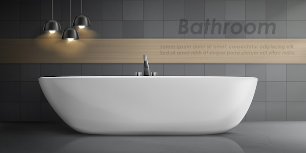 Realistic mockup of bathroom interior with big white ceramic bathtub, metal tap Free Vector