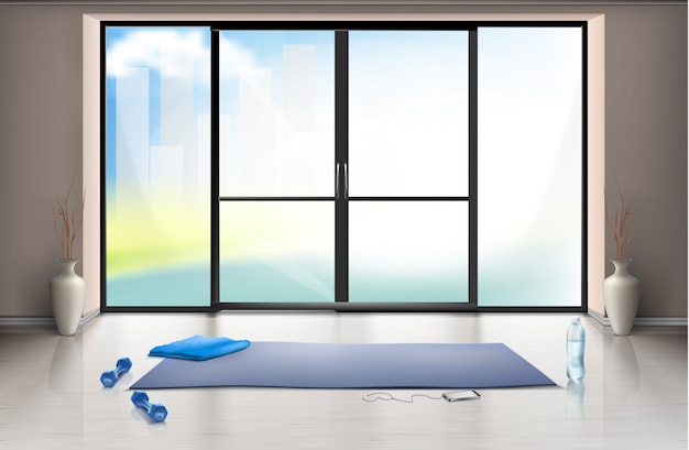 Realistic mockup of empty gym hall for fitness trainings with blue yoga mat and dumbells Free Vector