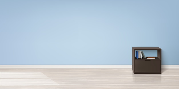Realistic mockup of empty room with flat blue wall, wooden floor, brown stand with books Free Vector