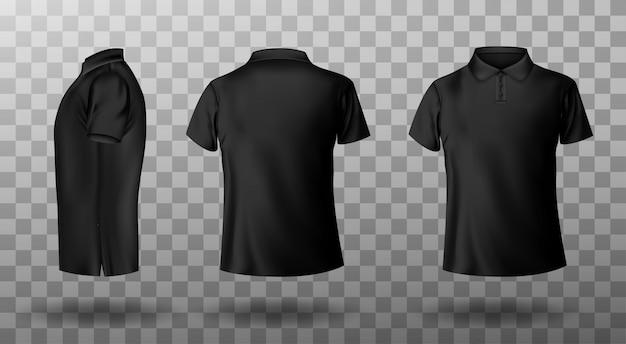 남성 검은 폴로 셔츠의 현실적인 모형 무료 벡터