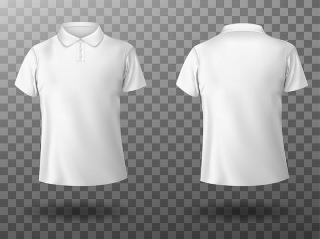 남성 화이트 폴로 셔츠의 현실적인 모형 무료 벡터