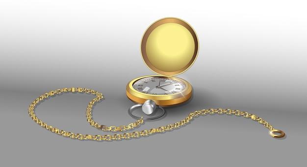 Реалистичные модели золотых карманных часов на цепочке. Premium векторы