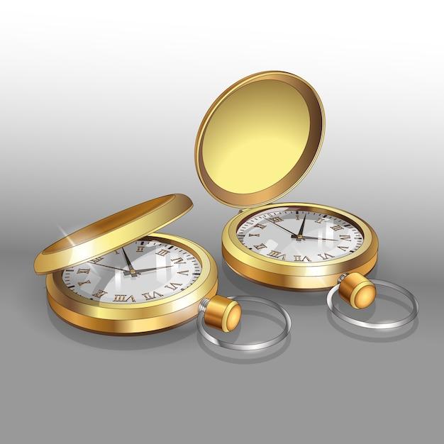 Реалистичные модели золотых карманных часов. шаблон дизайна плаката двух классических карманных часов. Premium векторы
