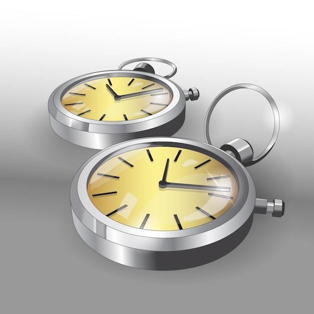 Реалистичные модели карманных серебряных часов. шаблон дизайна плаката двух классических карманных часов. Premium векторы