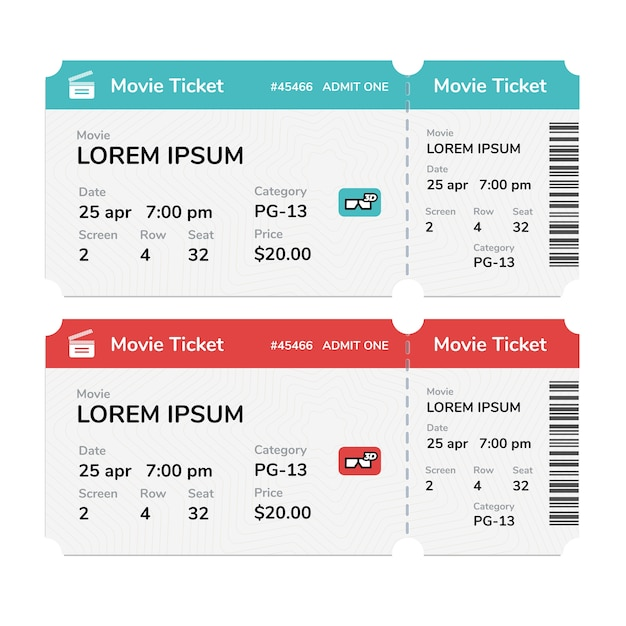 Realistic modern cinema tickets isolated on white background Premium Vector
