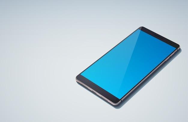 Реалистичная концепция современного дизайна смартфона с небесно-голубым пустым экраном на синем изолированном Бесплатные векторы