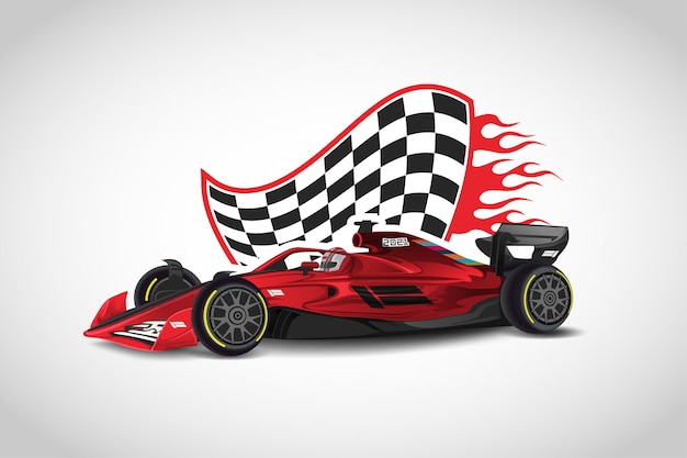 Realistic modern formula 1 red  racing car  vector Premium Vector