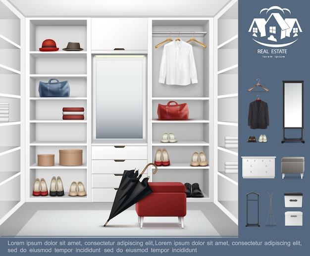 Concetto moderno realistico della stanza del guardaroba con i cassetti degli scaffali pieni di accessori di abbigliamento delle donne e degli uomini e l'illustrazione degli elementi interni del guardaroba Vettore gratuito