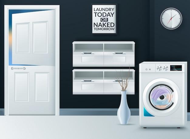 Realistic modern washing machine in empty laundry room Premium Vector