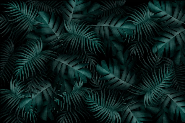 Free Vector Realistic Monochromatic Tropical Leaves Wallpaper All over banana palm leaves with teal and blue undertones. realistic monochromatic tropical leaves