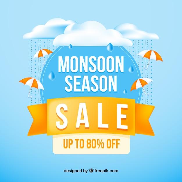 Realistic monsoon season sale composition