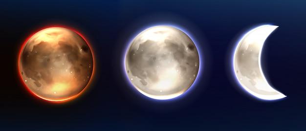 Luna realistica, fasi lunari piene e calanti. Vettore gratuito